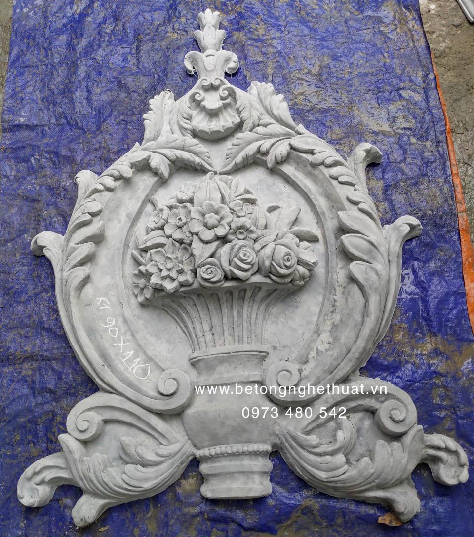 Phù điêu trang trí bê tông hình chậu hoa 90x110cm